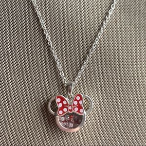 Minnie Mouse Crystal Shaker Pendant with Chain